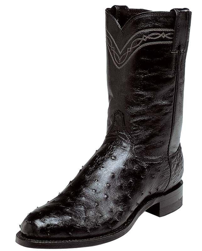 Justin Men S 10 Black Full Quill Ostrich Roper Boots Justin Boots Men Justin Boots Roper Cowboy Boots