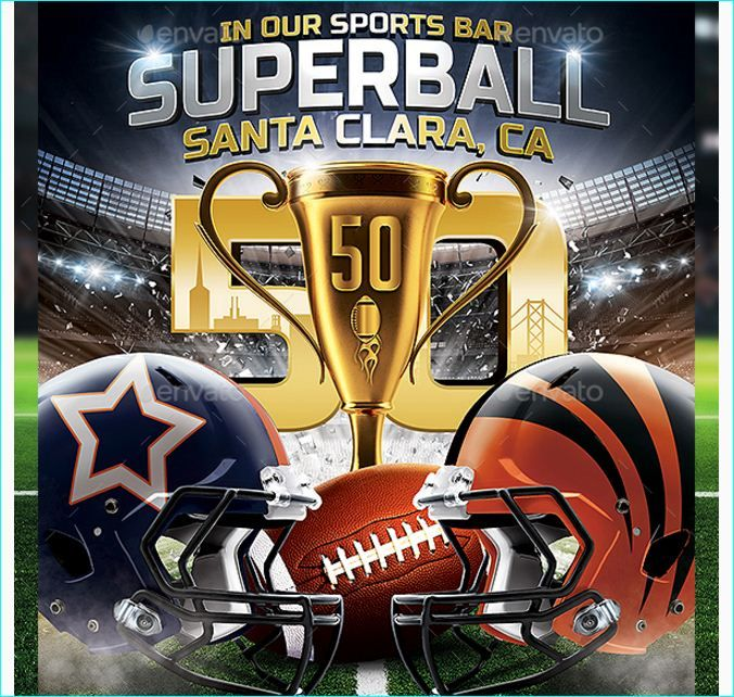 Super Ball American Football Flyer Template - Party Flyer