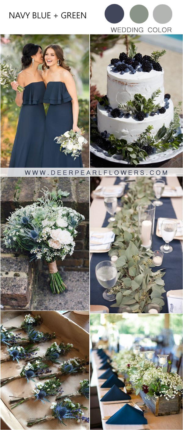 20 Fall Navy and Greenery Wedding Color Ideas