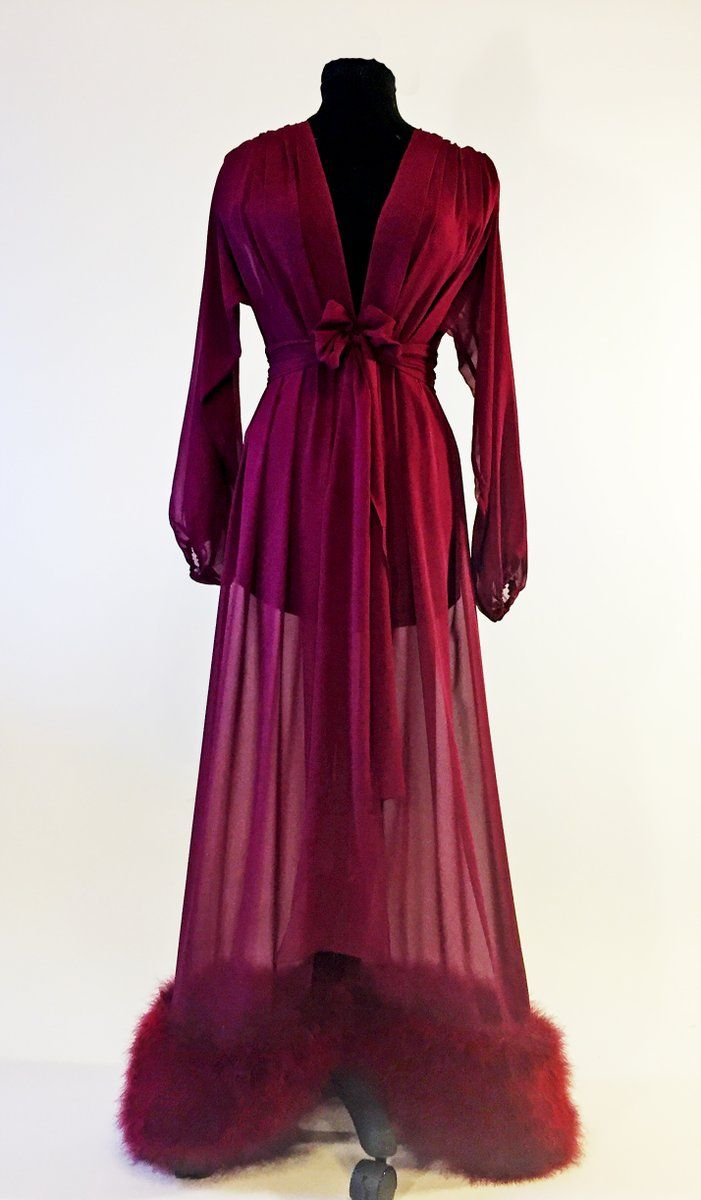 Luxurious silk chiffon dressing gown with a thick and plush marabou trim on  the hem. Dramatic full sleeves are gathered at wrist with elastic for. 7d0b43aec