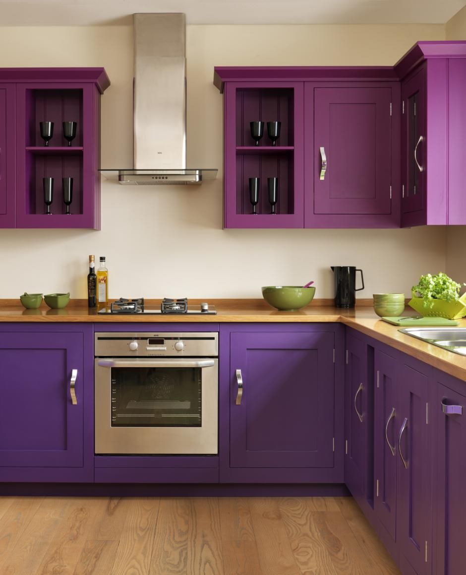 Shaker Purple Gorgeous Colours Simple Kitchen Design Purple