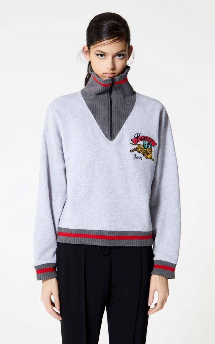 d39c962a PEARL GREY 'Bamboo Tiger' boxy sweatshirt for women KENZO | Fashion ...