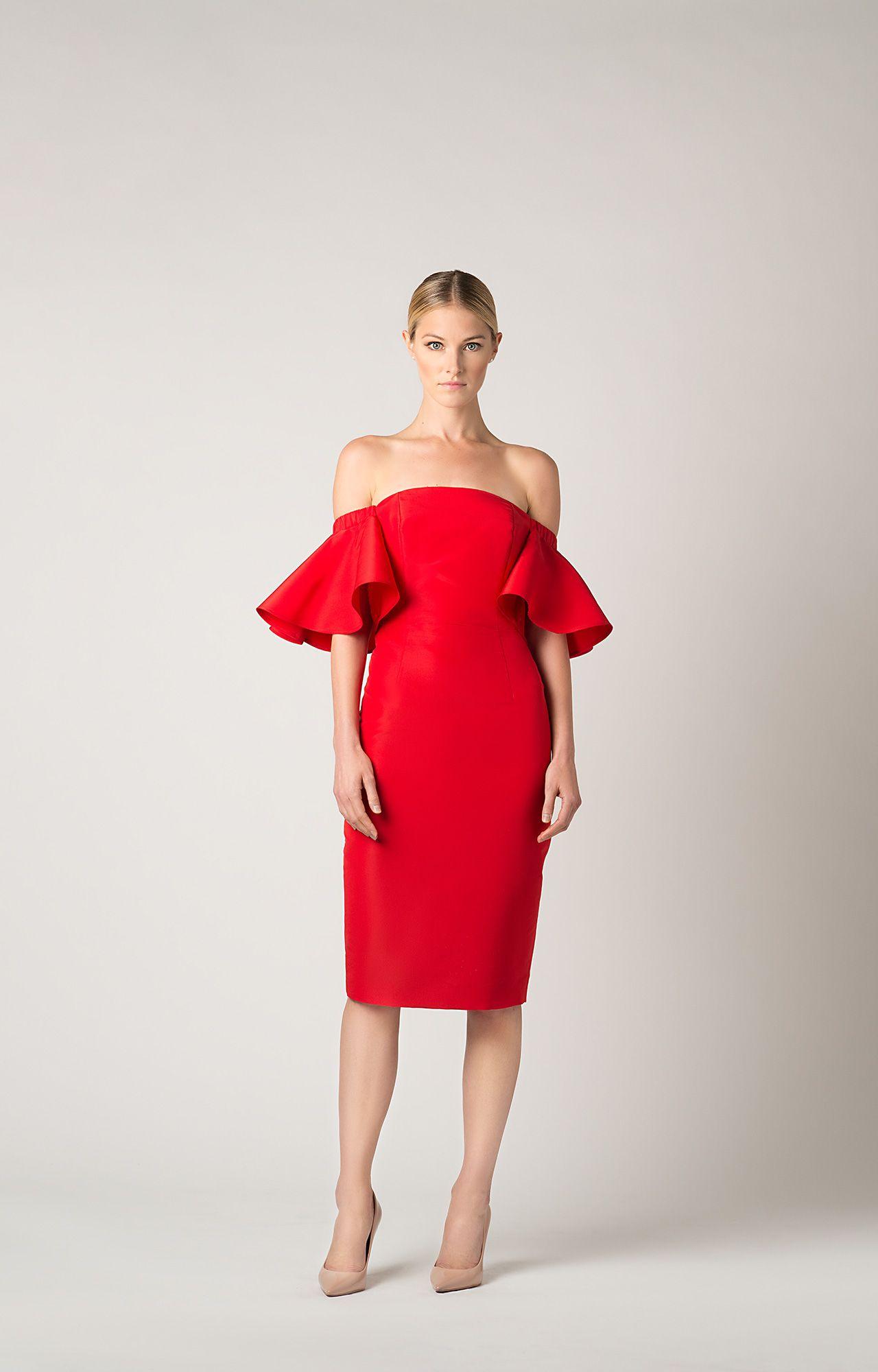 Silk faille off the shoulder ruffle sleeve dress fashion