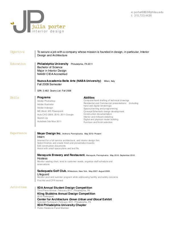 resume by julia porter at coroflot com