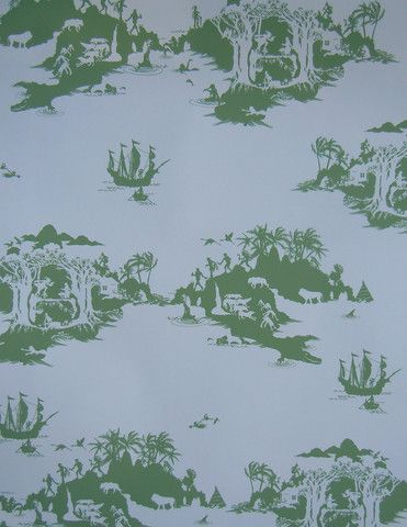 Emma Molony Wallpaper   Peter Pan Pea Green On Cream
