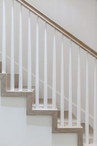 Staircase. Staircase Balusters. 4 Treads With 2u201d Mitered Skirting For  Transitional Look. Tapered Balusters With NO Transition Post At Corners For  Cleaner ...