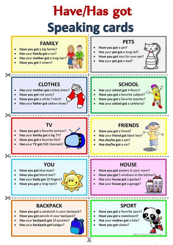 HAVE/HAS GOT - Speaking Cards Worksheet - Free ESL Printable Worksheets  Made By Teachers English Vocabulary, Conversational English, Speaking  Activities English