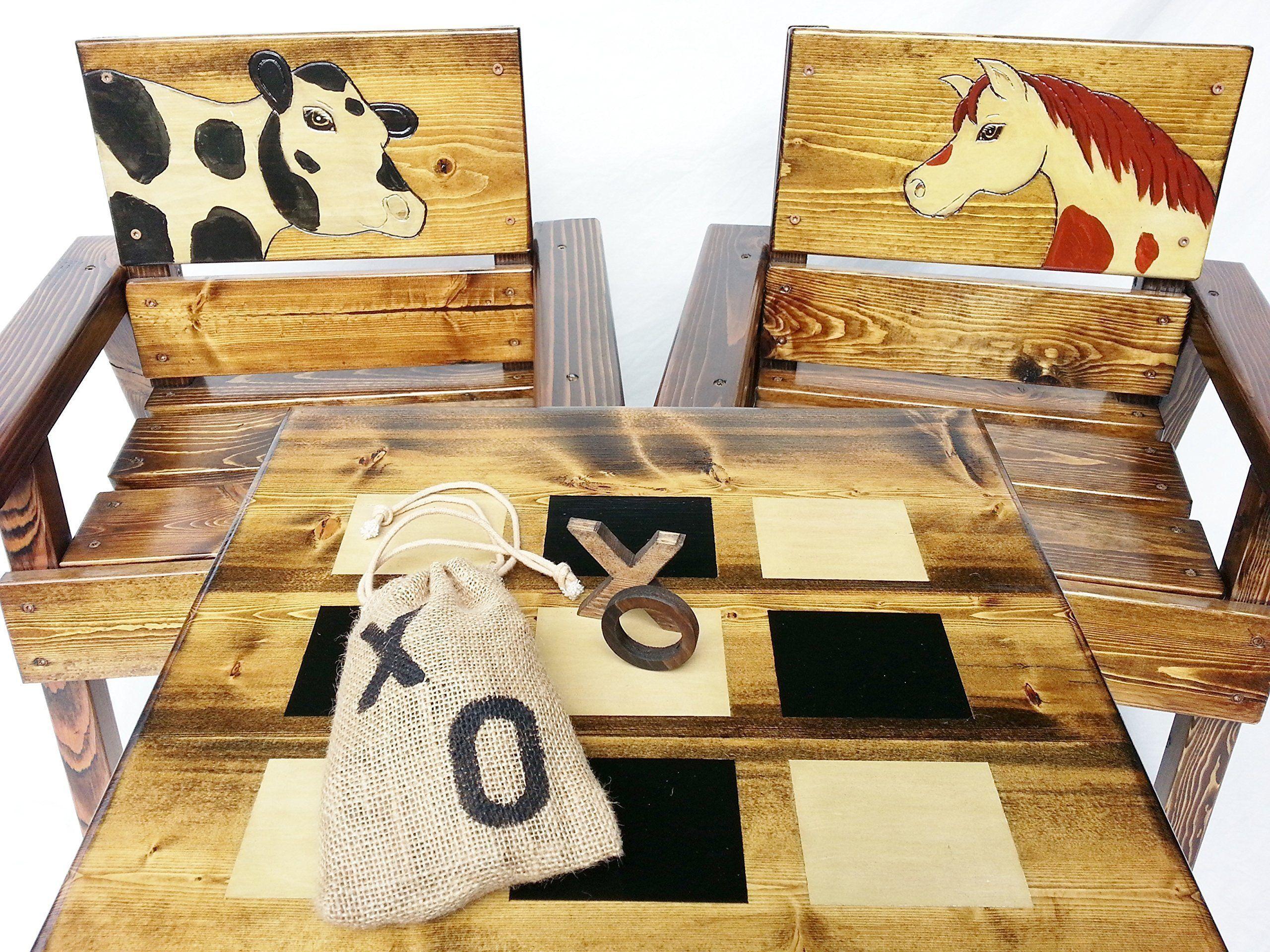 Kids Wood Table And Chair Set Indoor Outdoor Heirloom Furniture  # Muebles Tic Toc