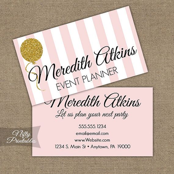 Pink Gold Glitter Business Cards Printable By Niftyprintables 15 00 Party Planner Business Cards Party Planner Business Event Planner Business Card