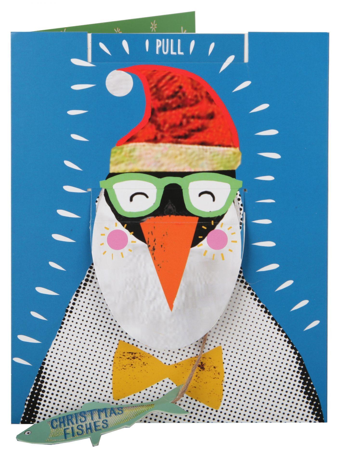 Interactive Christmas Card - Happy Penguin Eating Fish - Christmas ...