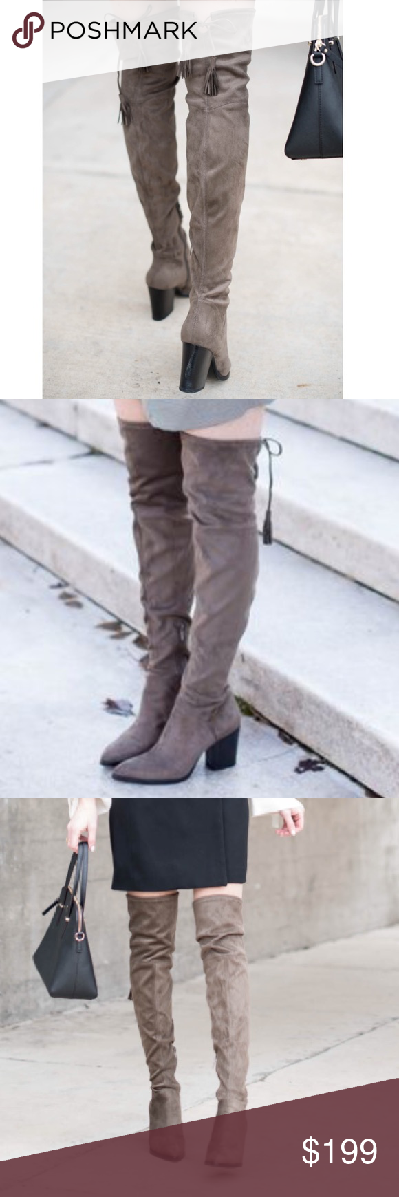 5bf85908dca Spotted while shopping on Poshmark  Marc Fisher Gray Suede Alinda Over the Knee  Boots!  poshmark  fashion  shopping  style  Marc Fisher  Shoes