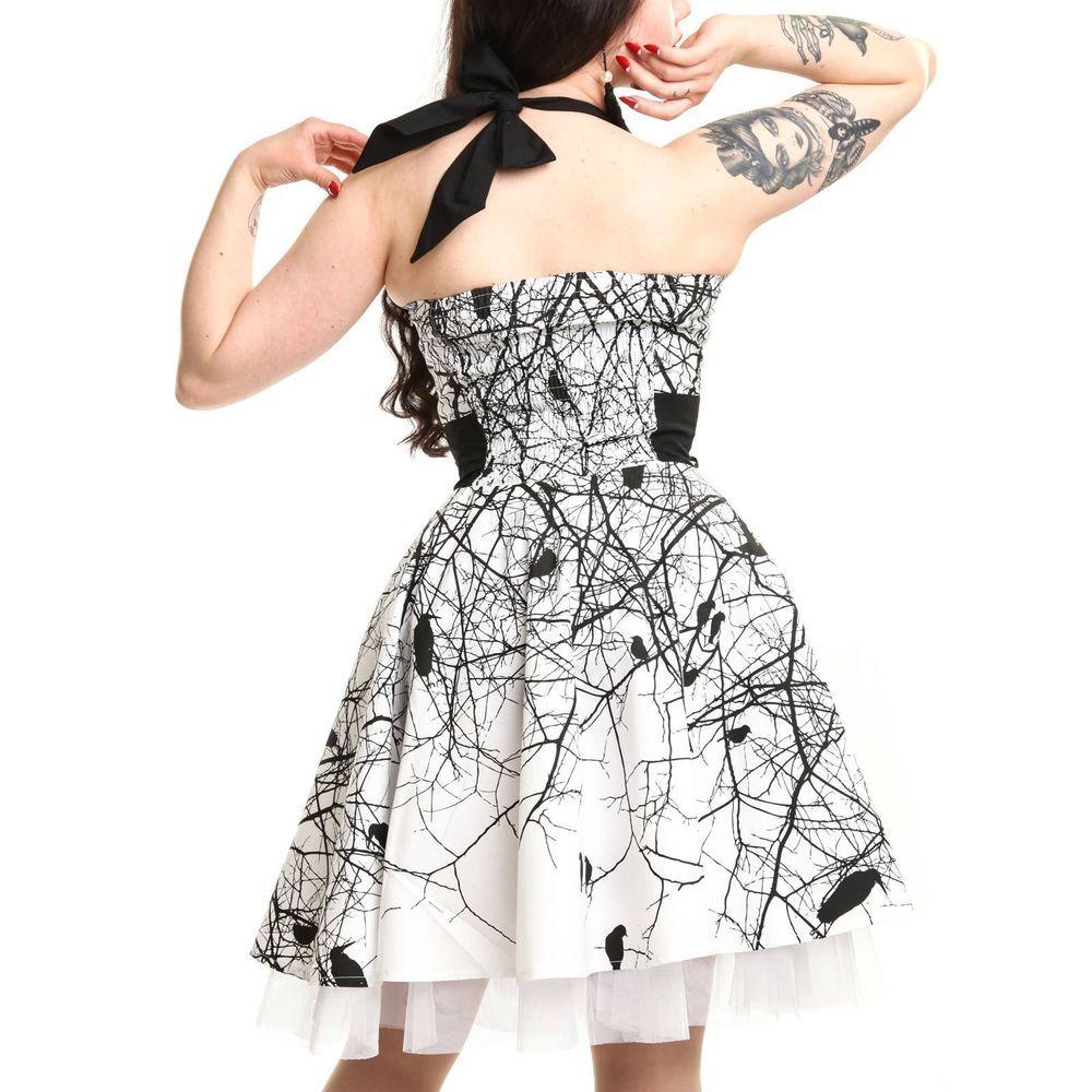 ab3e438708 Vixxsin Dark Crow Dress in White with Beautiful Crow print Goth Emo Punk