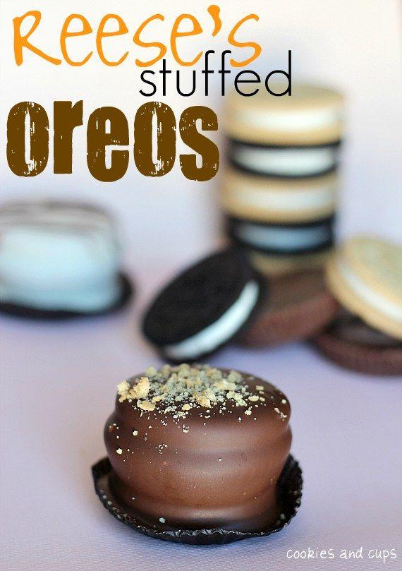 Reese's stuffed oreos #recipe #dessert