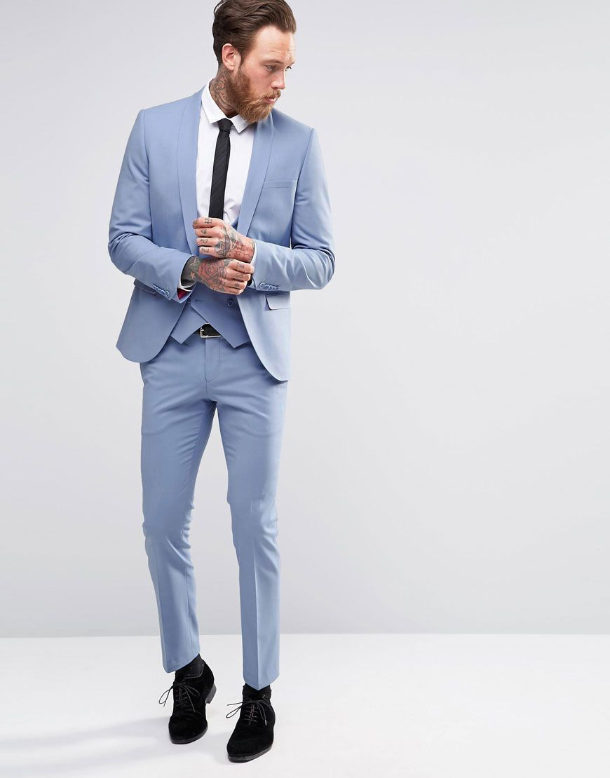 Noose & Monkey Sky Blue Suit with Stretch And Shawl Lapel in Super ...