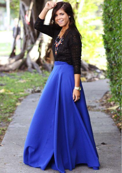 Cobalt Blue Dreams Maxi Skirt
