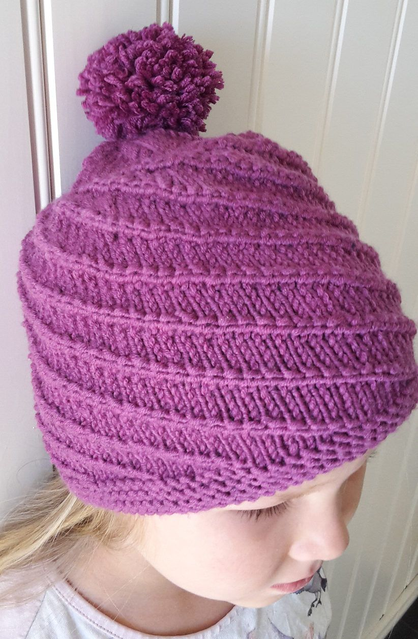 Free Knitting Pattern for Swirl and Twirl Hat - Easy hat with a spiral  stitch pattern. Size  1 2 – 3 4 – 5 6 – 7 9 – 10 12 years. da07f9802f8