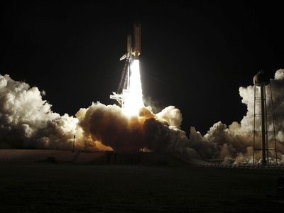 Space Shuttle Discovery Lifts Off from Launch Pad 39A at Kennedy Space Center in Florida