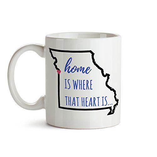 Home Is Where The Heart MO State Outline Coffee Mug Gift Kansas City Missouri