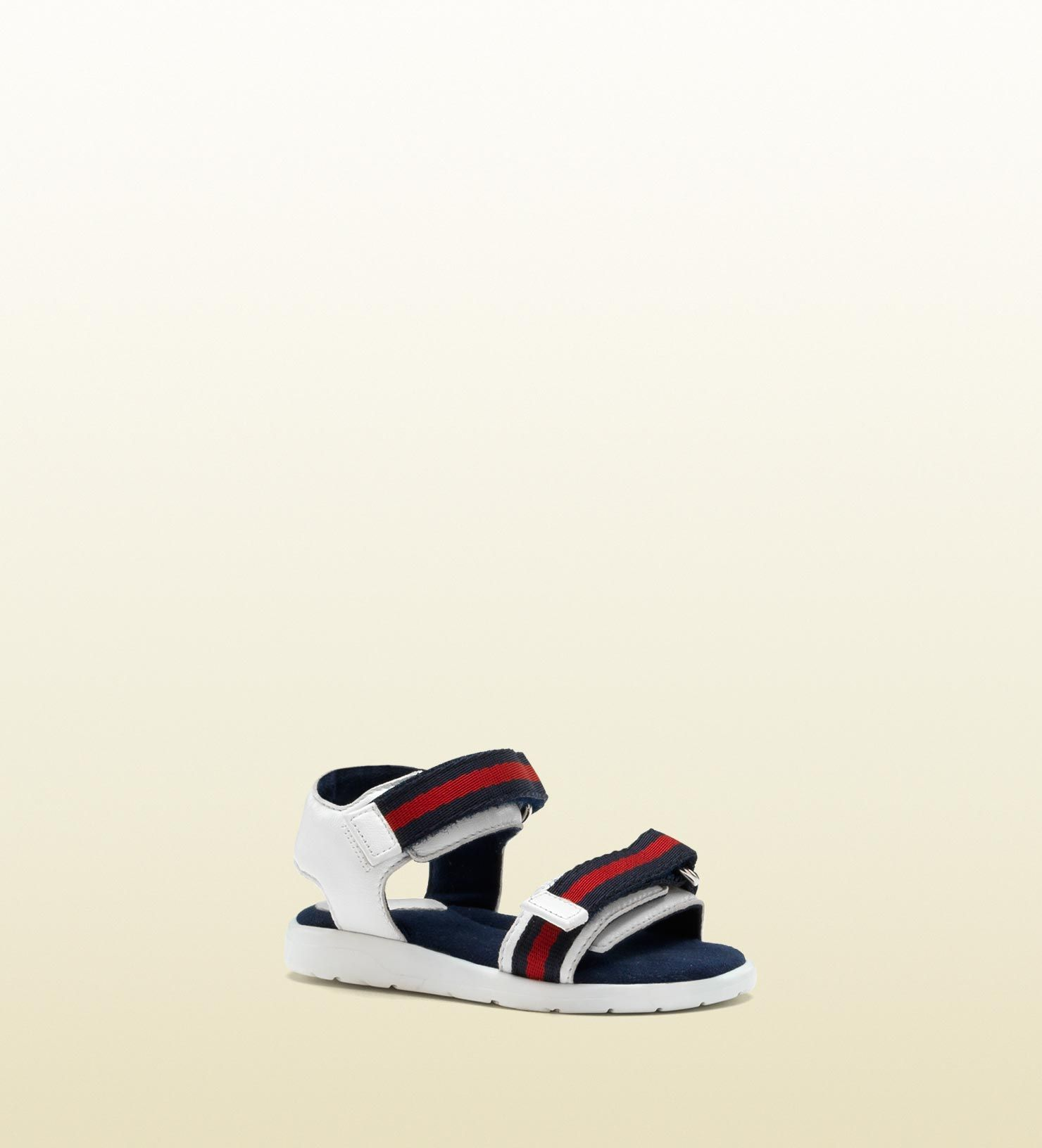 016afcfc3 Gucci toddler leather sandal with signature web straps