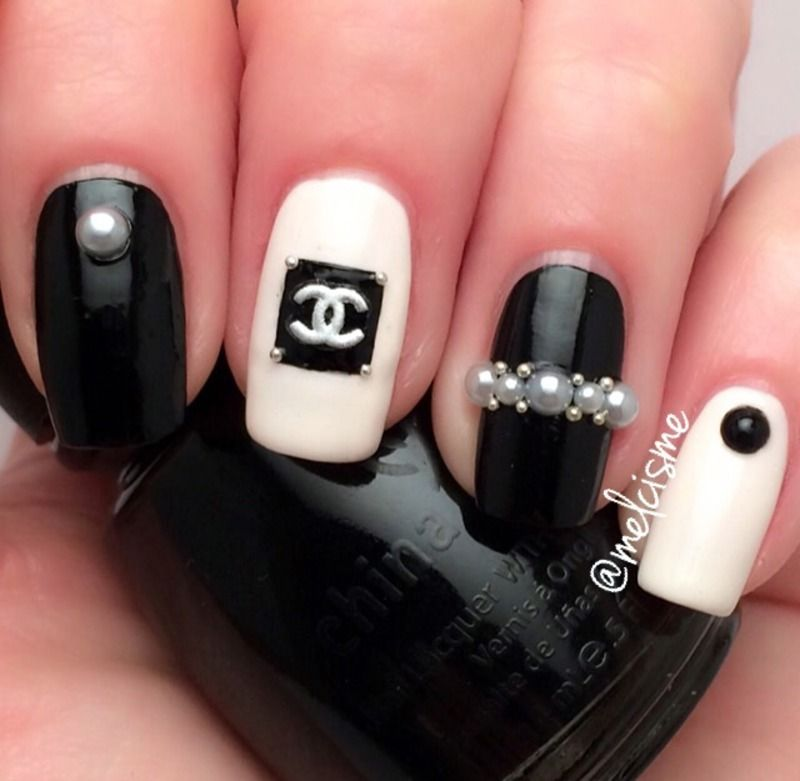 Blacks polish with pearls | Nails | Pinterest | Black polish, Chanel ...