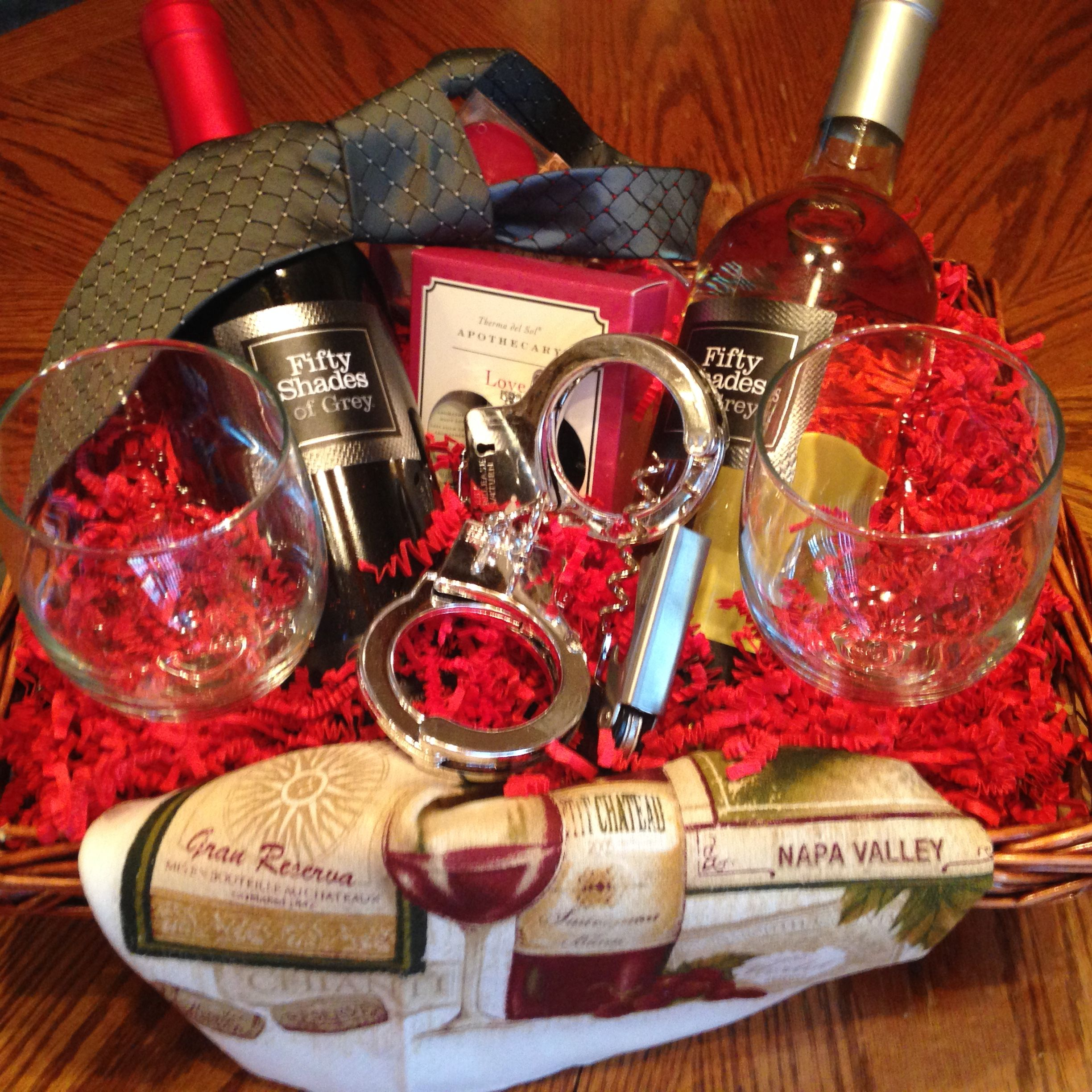 Fifty Shades Of Grey Gift Basket Valentine S Day Gift Baskets Gift Baskets For Him Wedding Night Gift