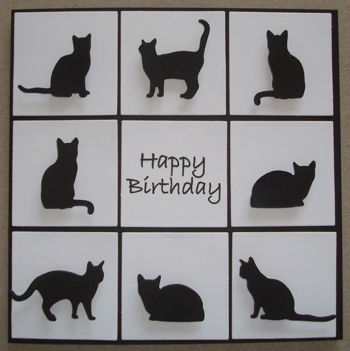 B074 Hand Made Birthday Card Using Io Cat Dies Birthday Cards