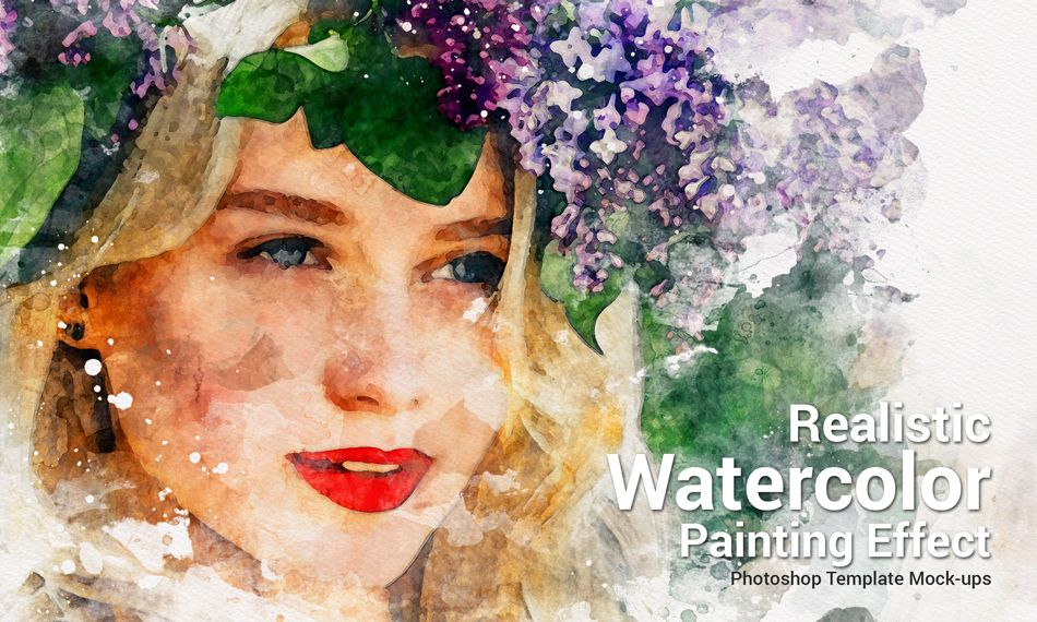 Realistic Watercolor Painting Photoshop Template Mock Ups V2