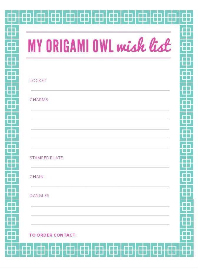 My Origami Owl Wish List brandieyostorigamiowl {O2 - contact list