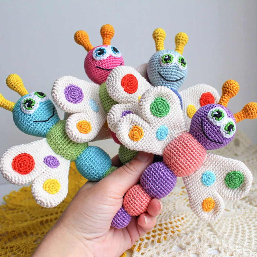 This Butterfly Baby Rattle Crochet Pattern makes a wonderful gift ...