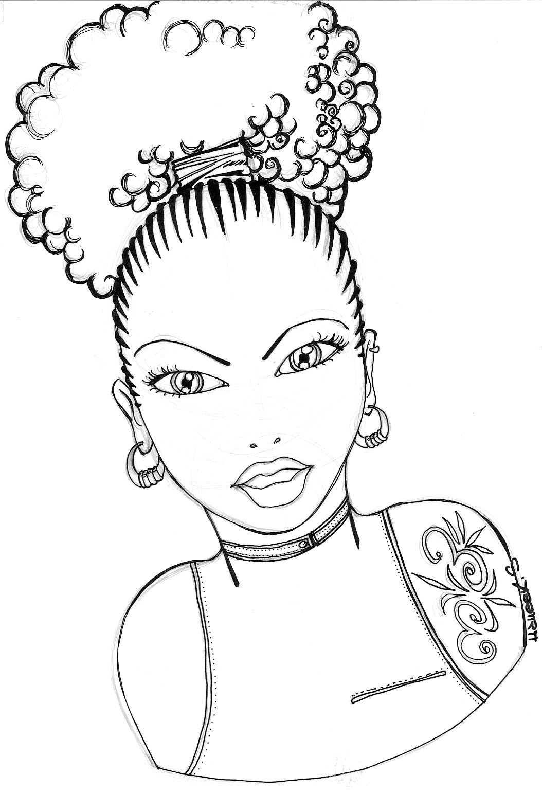 Natural Hair Art Drawing At Getdrawings Coloring Pages For Girls