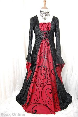 Gothic Medieval dress with blood red taffeta | clothing ...