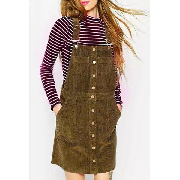 1cf6c7347862 Khaki Corduroy Suspender Skirt. Khaki Corduroy Suspender Skirt Cute  Sundresses ...