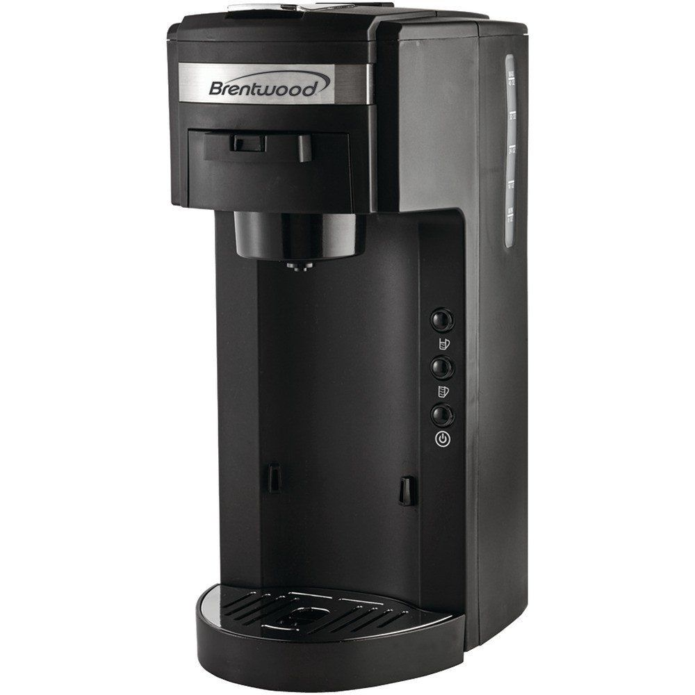 Brentwood Single-serve Black Coffee Maker - Brews 8oz-10oz Of Coffee At A Time Removable K-cup Pack Holder For Easy Use Reusable Mesh Filter For Flexible Brewing, Using Soft Pods Or Ground Coffee 40oz Water Tank Adjustable Drip Tray Fits A Range Of Cup Sizes 975w Bpa-free & Fda-approved Materials Cetl Approved Includes Stainless Steel Coffee Mug, Lid & Instruction Manual Black