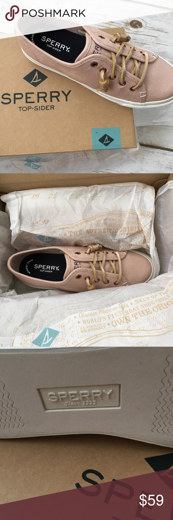 a14e4f8bfc Sperry • Sky Sail Platform Sneaker new - In Box! • Sperry • Sky Sail  Platform Sneaker Metallic Rose Sperry Shoes Sneakers