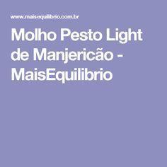 Molho Pesto Light de Manjericão - MaisEquilibrio