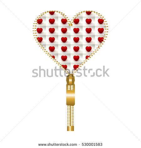 Heart shape made of golden #zip, filled with small #tomato #hearts ...