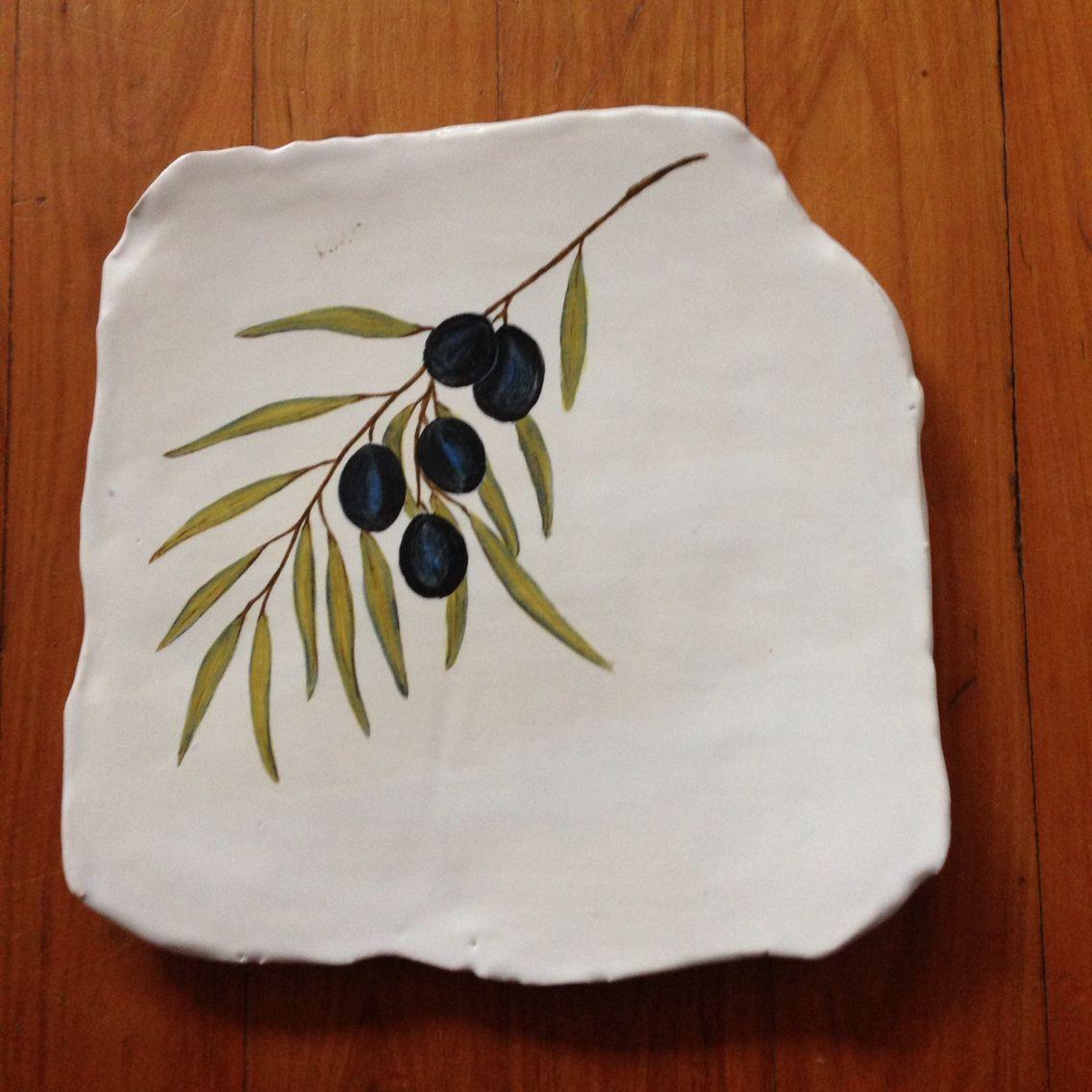 My handmade and handpainted ceramic cheese platter :)