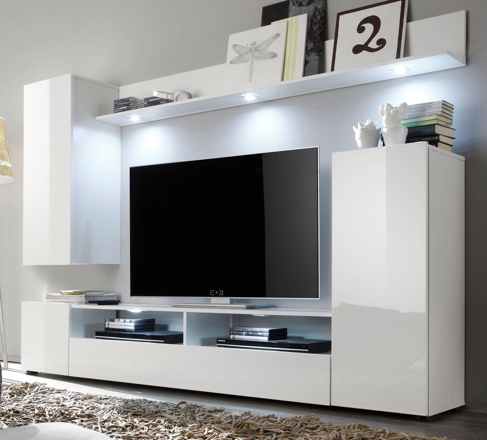 wohnwand weiß hochglanz fernsehschrank wohnzimmer tv/hifi möbel