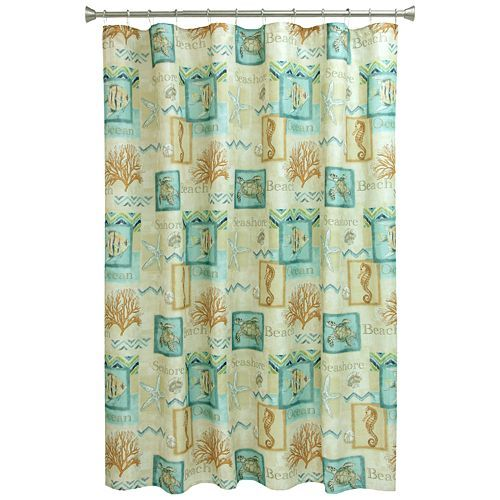 Such a great beachy vibe with the Bacova Chevron Beach Shower ...