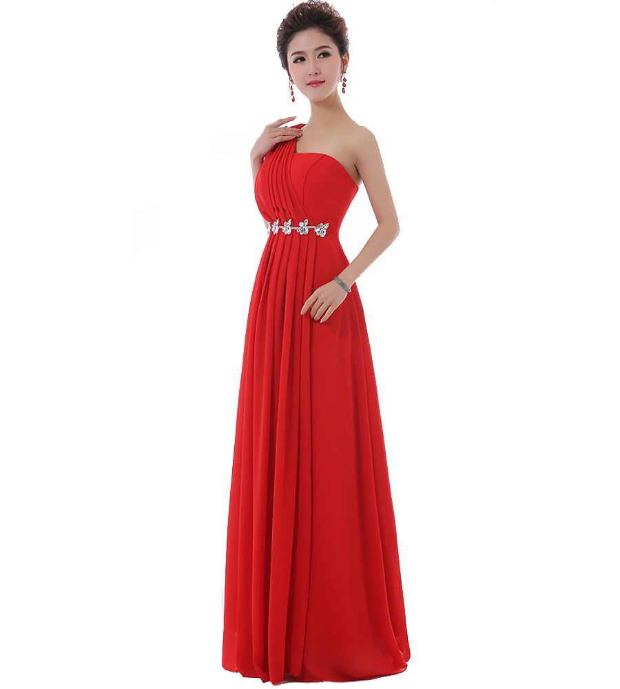 Click to buy ucuc long red chiffon bridesmaid dresses with crystal one