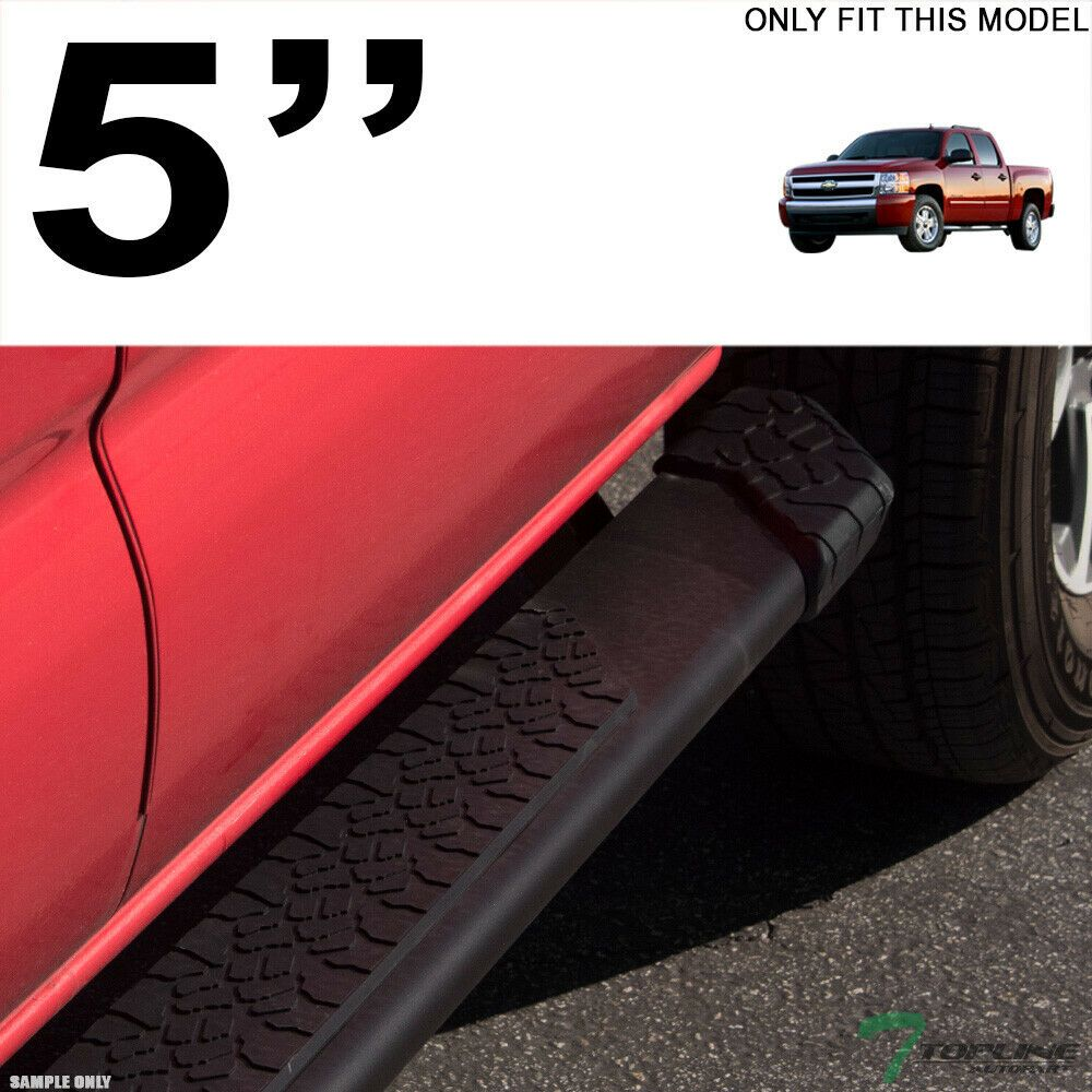 Running Board Wheel to Wheel Black Fit Silverado//Sierra Double Cab 8ft Bed 07-18