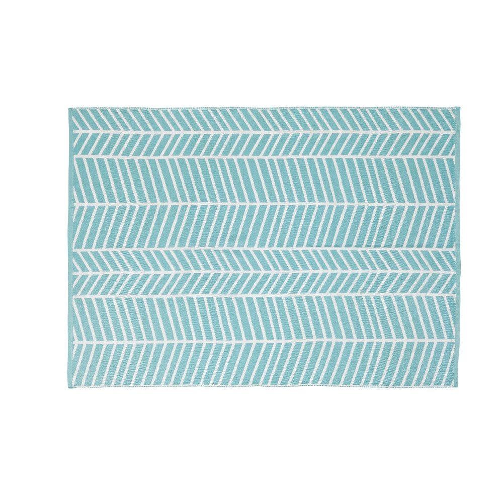 Tapis D Exterieur Bleu Motifs Graphiques Blancs 140x200 Deco Fille