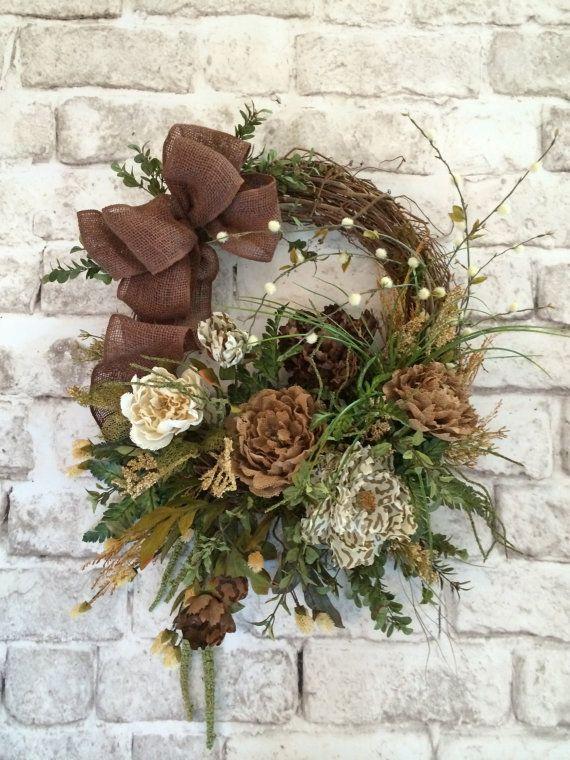 Wonderful Burlap Floral Wreath, Front Door Wreath, Spring Wreath, Silk Floral Wreath,  Outdoor