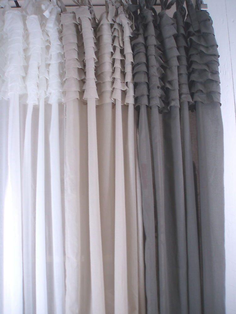 vorhang gardine vintage style verschiedene farben 105 x. Black Bedroom Furniture Sets. Home Design Ideas