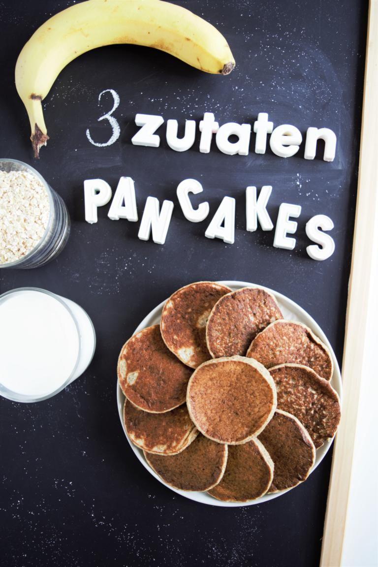 Gesunde Pancakes ohne Zucker - 3 Zutaten & 1 Mixer! - Frau Janik