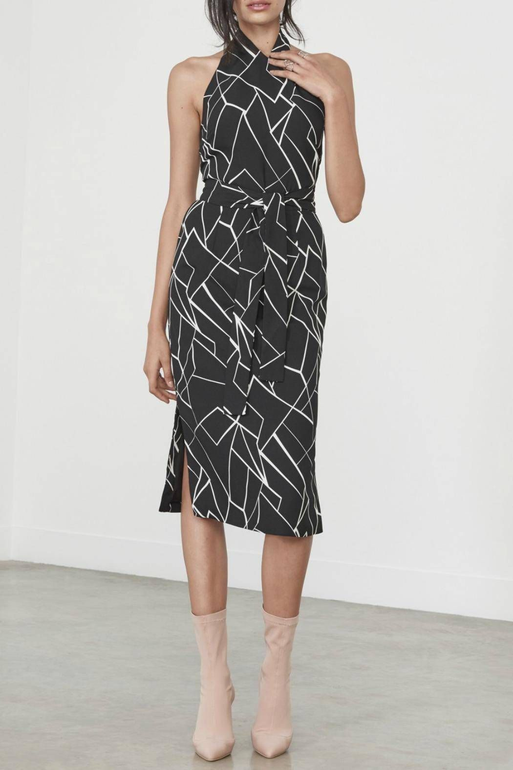 Lavish alice abstract print dress abstract print black print and