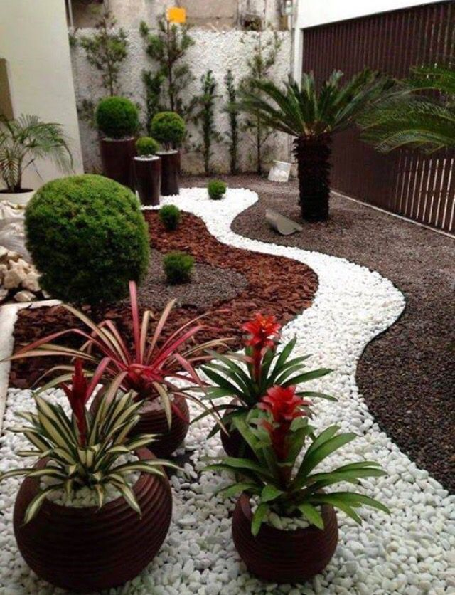 Mulch And White Rocks Small Front Yard Landscaping Rock Garden