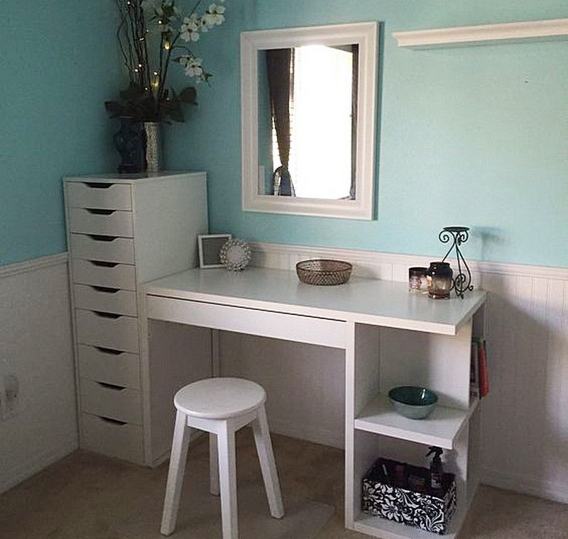 Attrayant IKEA Micke Desk With Integrated Storage As Vanity Desk With ALEX Drawers