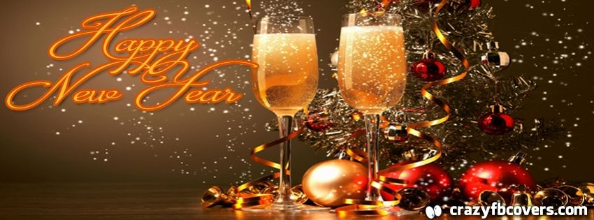 Champagne Glasses and Ornaments Happy New Year Facebook