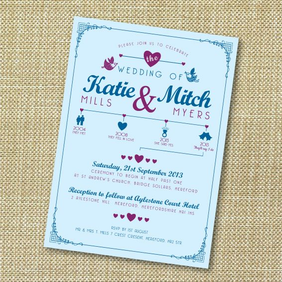 timeline single sided wedding invitation pinterest timeline